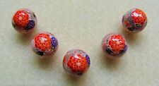 5 Japanese Tensha Beads CHERRY BLOSSOMS on PINK MIRACLE ROUND Beads 12mm
