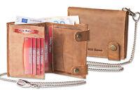 Wild Nature® Geldbörse Kettenbörse mit Kette und Außenriegel aus Leder in Natur