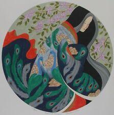 "Miharu Lane signed lithograph ""Peacock Kimono"" 216/275 Japanese 18"" diam."