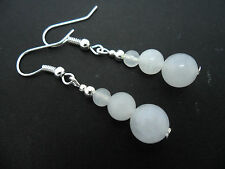 Bead Silver Plated Earrings. New. A Pair Of Milky White Jade