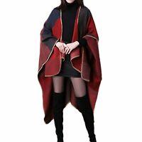 Women Cashmere Scarf Patchwork Plaid Poncho Cape Cloak Shawl Wrap Blanket Winter