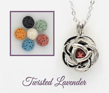 Small Rose Aromatherapy Essential Oil Necklace Diffuser with 6 lava stones!