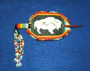"Beaded Hexagonal Barrette w Fringe Stick closure Regalia 4x2.5"" White Buffalo 15"