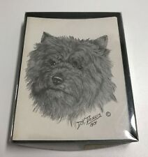 Vintage Greeting Note Paper Card Cairn Terrier D.K. Dennis Blank with Envelopes