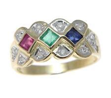 ORIGINAL Rubí Emerald zafiro anillo con diamante 14k ORO AMARILLO