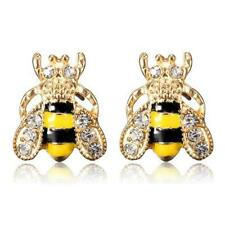CUTE HONEY BEE EARRINGS Post Stud Pair NEW Yellow Black Enamel Bling Rhinestone