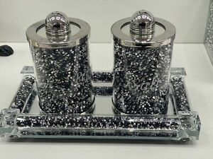 UK Bling crushed silver black crystal salt and pepper shaker set with tray