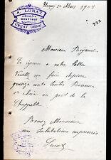 """URCAY (03) COUVERTURE TOITURE """"A. LURAT Couvreur"""" en 1908"""