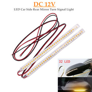 2x Car Auto Rearview Mirror 32SMD LED Strip Light Flowing Turn Signal Side Lamp