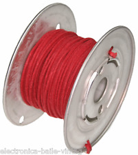15 Mt RED GUITAR ELECTRIC 22 AWG VINTAGE CLOTH COVERED WIRE - CABLE INTERNO