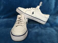 Polo Ralph Lauren Harold White Leather Sneakers Tennis Shoes Size 7.5D <