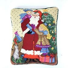 Small Christmas Needlepoint Pillow Santa Claus Tree Presents Children