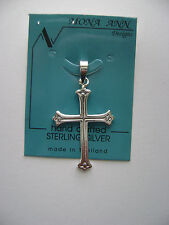 Sterling Silver Gothic Style Cross Pendant New