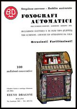 PUBBLICITA' 1954 JUKE BOX AUTOMATICO BRUNO DRAGONI BAR MUSICA DISCHI 45G FLIPPER