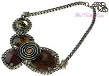 Antique Brassy Gold Brown Ethnic Ornate Chunky Tribal Spiral Statement Necklace