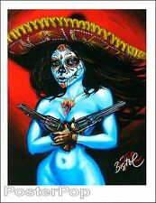 """BigToe Termino Feliz Signed 8.5x11"""" Giclee Print Sexy Nude Day of the Dead Guns"""