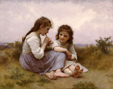 """Oil painting Bouguereau -  Young sisters A Childhood Idyll in field canvas 36"""""""