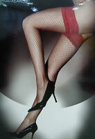 BRAND NEW LADIES WOMENS ANN SUMMERS RED LACE TOP FISHNET HOLD UP STOCKINGS BOXED