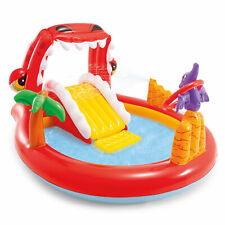 Intex 57163EP Happy Dino Outdoor Inflatable Kiddie Pool Play Center with Slide
