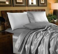 Chezmoi Collection 4-Piece Solid Silver Bridal Satin Sheet Set