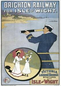 Brighton Railway for Isle of Wight Illustrated   Vintage Poster   A1, A2, A3