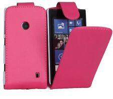 pink Leather Flip Case Cover with Card Slots&clip for Nokia LUMIA 520 UK SELLER