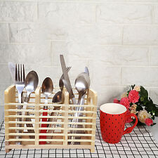 NATURAL BAMBOO UTENSIL CUTLERY HOLDER KITCHEN CADDY CAGE WOODEN STORAGE RACK