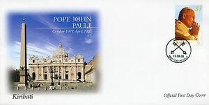 Kiribati Pope John Paul II Stamps 2005 FDC In Memoriam Commemoration 1v Set