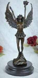 Bronzefigur Engel mit Fackel Siegesengel Mythologie Skulptur Figur Bronze Deko