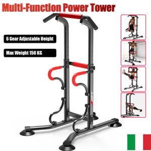SBARRA TRAZIONI POWER TOWER MULTIFUNZIONE ADDOMINALI PALESTRA DIP FITNESS 150 KG
