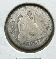 1891 Seated Liberty Dime - VERY GOOD