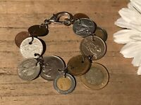 Recycled Coin Jewelry, World Coin Charm Bracelet