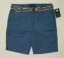 U.S. POLO ASSN. Twill Shorts Flat Front with Belt Mens Size 36 NWT New