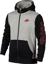 NEW NIKE YOUTH BOY'S SPORTSWEAR FLEECE HOODIE JACKET HOODY GREY/BLACK/RED SZ/ M