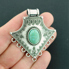 Chandelier Connector Charm Antique Silver Tone With Faux Turquoise  - SC1096