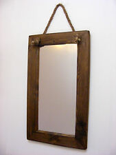 Wall Hanging Large Rope Mirror / Rustic Solid Wooden Mirror / Dark Finish