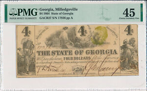 1864 $4 STATE OF GEORGIA OBSOLETE NOTE MILLEDGEVILLE **PMG CERTIFIED XF 45**