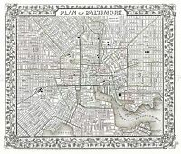 MAP ANTIQUE 1867 MITCHELL BALTIMORE CITY PLAN LARGE REPLICA POSTER PRINT PAM1878