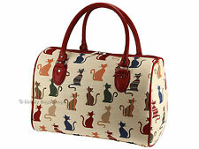 Signare Womens Tapestry Travel Holdall Weekend Handbag Bag In Cheeky Cat Design