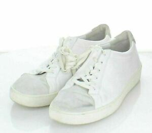 36-71 $225 Women Sz 7.5 M Vince Janna Leather/Suede Lace-Up Sneaker In White