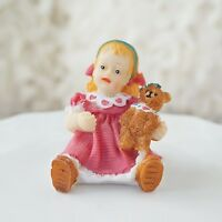 Vintage Baby Girl in This Pink with Teddy Bear Figurine Statue Classic Americana