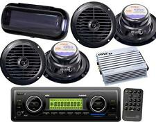 "Black New Marine Boat MP3 USB Radio 4  6.5"" Pyle Speakers 400 Watt Amp + Cover"