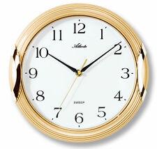 Wanduhr Golden Lautlos ohne Ticken Leise Rund Zahlen Quarz Weiß - Atlanta 4235-9