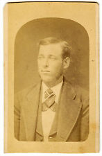 Real Photo-Cabinet Card-Young Man w/ Silk Cravat-Albion, Mich. c.1885