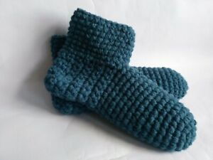 Crochet men`s wool slippers , socks, boots/ Blue /Size USA 11-12, Home shoes