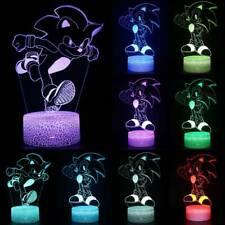 3D LED Lamp Night Light SONIC SEGA HEDGEHOG Touch Kids Desk Table Lamp 7 Colour
