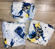 Pottery Barn Kids BATMAN Full/Queen Bed Sheet Set Flat, Fit,3 Pillow Cases DC