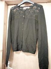 LK Bennett black merino wool cardigan lace detail M 12 14 gothic retro party