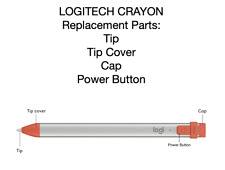 Logitech Crayon Parts: Tip, Tip Cover, Cap, Power Button Orange Gray Grey NEW