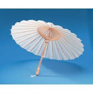 Parasol Umbrella - Natural White Paper - Bamboo Handle - 32 inch